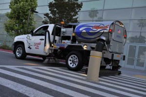 The vacuum parking lot sweeping truck in sunnyvale keeps property clean