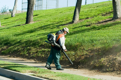 Day Porter cleaning up commercial landscaping