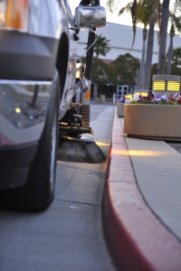 Parking lot sweeper working early in the morning in Sunnyvale CA