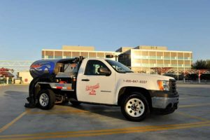 Universal Site Services vehicle at clients property, while performing property maintenance.