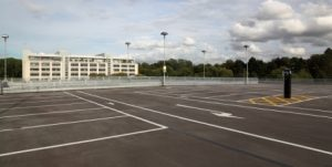 photo of empty lot after a parking lot sweeping in Fullerton job has been completed